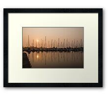 Pale Pastel Sunrise with Yachts Framed Print