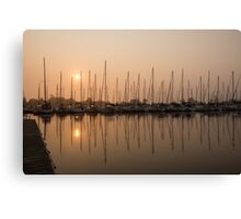 Pale Pastel Sunrise with Yachts Canvas Print