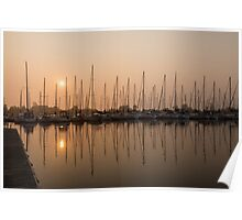 Pale Pastel Sunrise with Yachts Poster