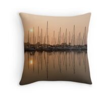 Pale Pastel Sunrise with Yachts Throw Pillow
