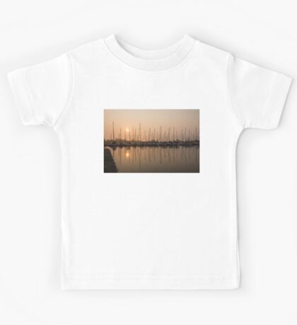 Pale Pastel Sunrise with Yachts Kids Tee