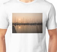 Pale Pastel Sunrise with Yachts Unisex T-Shirt