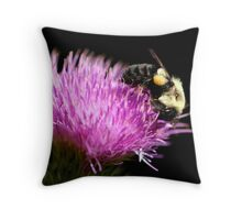 Bumble Bee On A Thistle Flower Throw Pillow