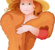 portrait of girl in retro style dressing with hat and fur in warm colors by Nadiiaz
