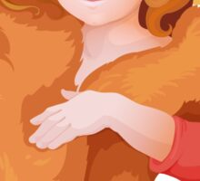 portrait of girl in retro style dressing with hat and fur in warm colors Sticker