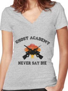 Ghost Academy - Never Say Die Women's Fitted V-Neck T-Shirt