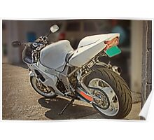 Really cool white motorcycle Poster