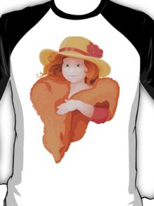 portrait of girl in retro style dressing with hat and fur in warm colors T-Shirt