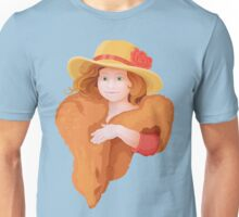 portrait of girl in retro style dressing with hat and fur in warm colors Unisex T-Shirt
