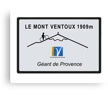 Mont Ventoux Cycling Road Sign Tour De France Canvas Print
