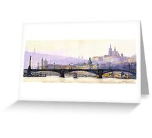 Prague Panorama Cechuv Bridge variant  Greeting Card