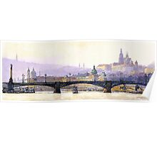 Prague Panorama Cechuv Bridge variant  Poster