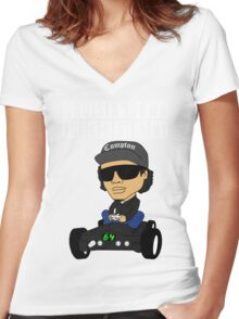 Hip Hop Funny Compton Rap Nintendo 64 Women's Fitted V-Neck T-Shirt