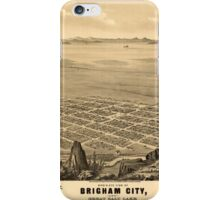 Panoramic Maps Bird's-eye view of Brigham City and Great Salt Lake Utah Ty 1875 iPhone Case/Skin