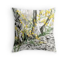 Tree Bark & Wildflower Throw Pillow