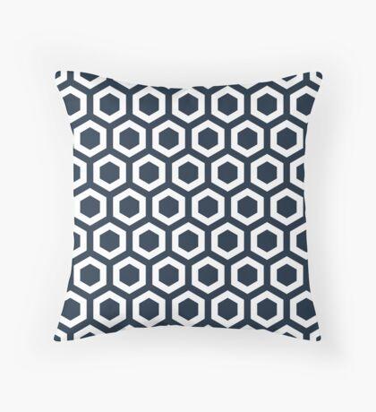 Navy Hexagons Throw Pillow