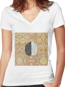 Big Brain Women's Fitted V-Neck T-Shirt