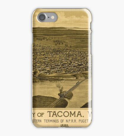 Panoramic Maps City of Tacoma WT western terminus of NPRR Puget Sound 1885 iPhone Case/Skin