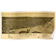 Panoramic Maps City of Tacoma WT western terminus of NPRR Puget Sound 1885 Poster