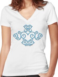 Blue Glow Victorian Tribal Heart Women's Fitted V-Neck T-Shirt