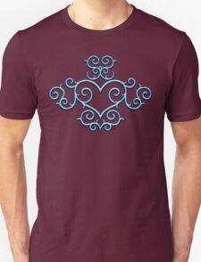 Blue Glow Victorian Tribal Heart Unisex T-Shirt