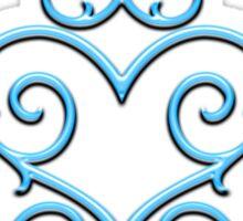 Blue Glow Victorian Tribal Heart Sticker