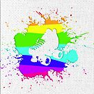 Roller Splatter (rainbow-wht) by Benjamin Whealing
