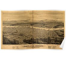 Panoramic Maps Portland Oregon Poster