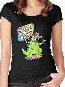 """Haters Gonna Hate"" Reptar (black) Women's Fitted Scoop T-Shirt"