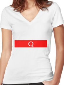 Alphabet Collection - Quebec Red Women's Fitted V-Neck T-Shirt