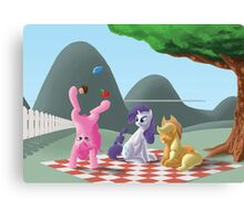 A pony picknick in the summer sun Canvas Print