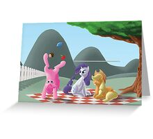 A pony picknick in the summer sun Greeting Card
