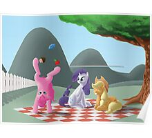 A pony picknick in the summer sun Poster