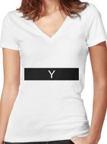 Alphabet Collection - Yankee Black Women's Fitted V-Neck T-Shirt