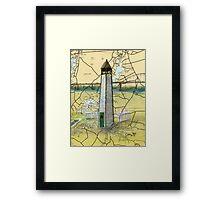 Bethel Bridge Lighthouse MD Nautical Map Cathy Peek Framed Print