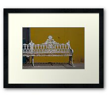 Madalena Wrought Iron Bench (View Larger) Framed Print