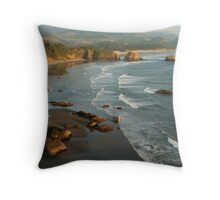 Crescent Beach & Cannon Beach Throw Pillow