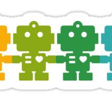Rainbow Robots holding hands Sticker