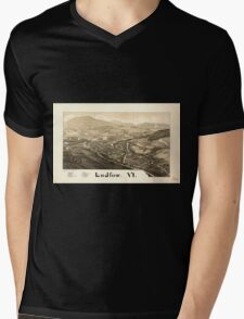 Panoramic Maps Ludlow Vt Mens V-Neck T-Shirt