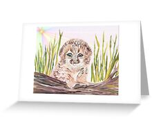 Cute baby leopard peeking out from the tall grass with the bright sun shining. Greeting Card