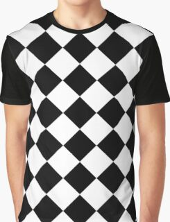 Black and White Diagonal Harlequin Diamond Checks Graphic T-Shirt