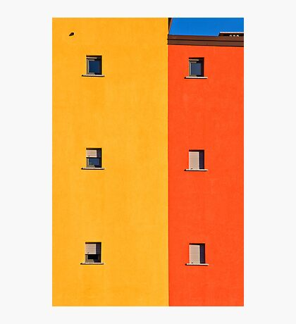 Yellow, orange, blue with windows Photographic Print