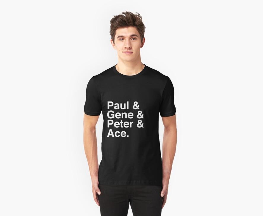 Paul & Gene & Peter & Ace Kiss T-Shirt by tcn33