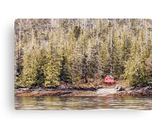Red Cabin in Alaska Canvas Print
