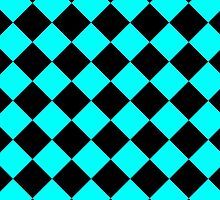 Black and Turquoise Diagonal Harlequin Diamond Checks by ukedward