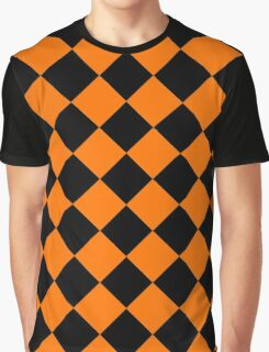 Black and Orange Diagonal Harlequin Diamond Checks Graphic T-Shirt