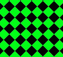 Black and Lime Green Diagonal Harlequin Diamond Checks by ukedward