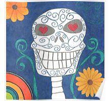 Blue Sugar Skull Poster