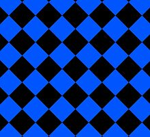 Black and Blue Diagonal Harlequin Diamond Checks by ukedward