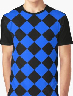 Black and Blue Diagonal Harlequin Diamond Checks Graphic T-Shirt